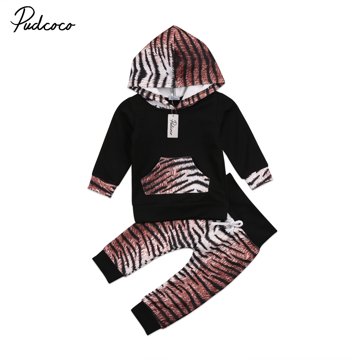 Pudcoco 2Pcs Newborn Baby Boys Girl Unisex Clothes Long Sleeve Hooded Long Pants Outfits Set 0-24Months Helen115