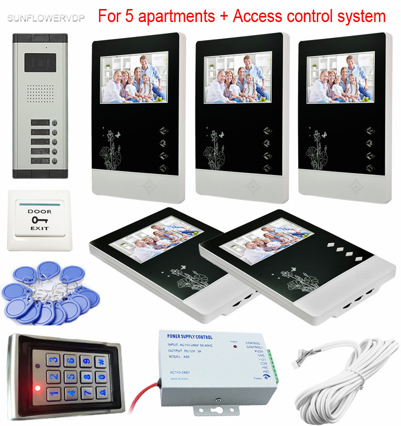 For 5 Separate Apartments Color Video Door Phones Intercom Systems 5 LCD and 5 keys Security Doorbell+Access Control System point systems migration policy and international students flow