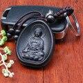 Llaveros Llave Del Coche de La Personalidad Creativa de Madera Colgante de Moda Negro Amitabha Buda de Palo de Rosa tallado Budista Llavero Titular