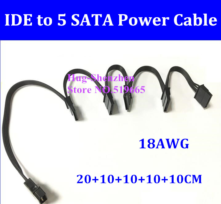1PCS NEW SATA Power Supply Cable 4Pin IDE Molex to 5 SATA Connector Lead 18AWG Wire For HDD SSD Cage PC Server DIY
