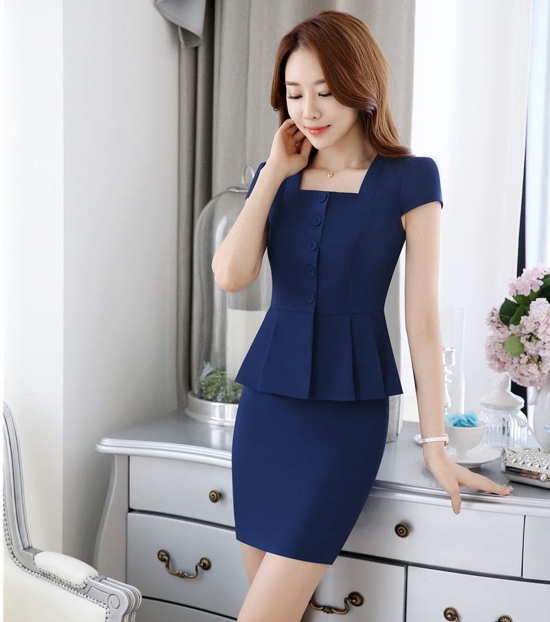 Formal OL Styles Summer Short Sleeve Professional Business Women Work Suits With 2 Pieces Tops And