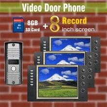 8 pulgadas 3 unids pantalla 8 GB tarjeta SD de grabación de teléfono Video de la puerta sistema de intercomunicación del timbre 700TVL CMOS impermeable IR cámara con Sensor de
