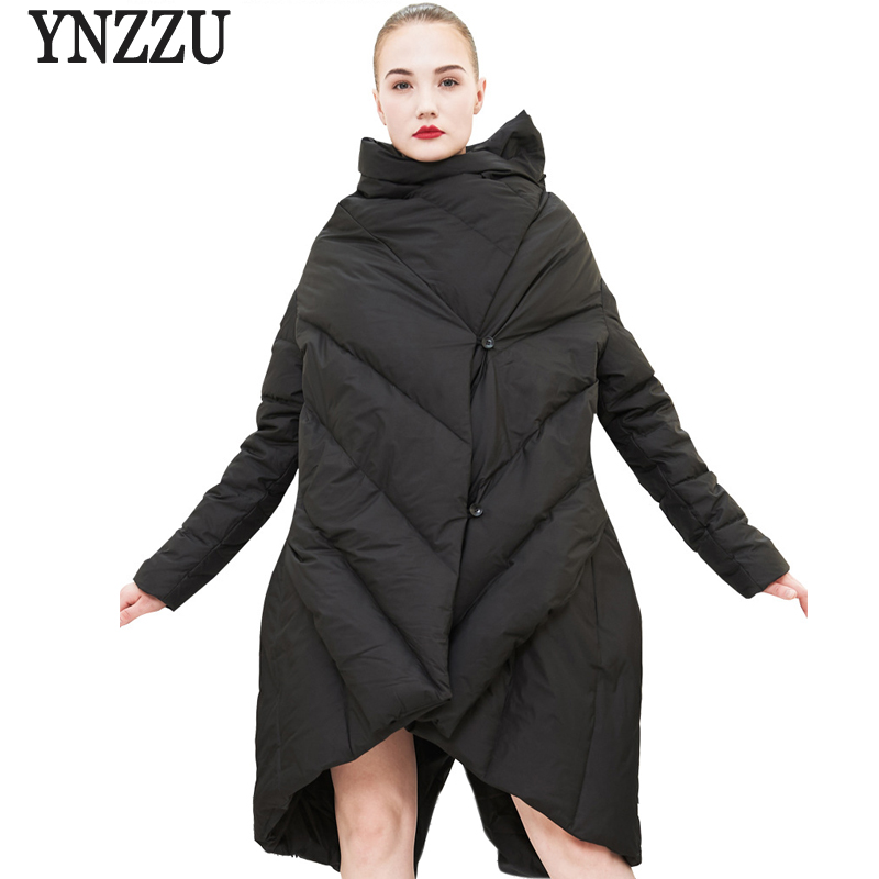 Brand High Quality 2018 Winter Jacket Women Solid Chic Irregular Cloak Style 90% White Duck Down Coat Female Snow Overcoat AO561