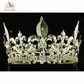 Estrella Corona Imperial Medieval de Los Hombres Accesorios de Fiesta del pavo real Ronda Full Circle Chapado En Oro Rey Tiara CT1716