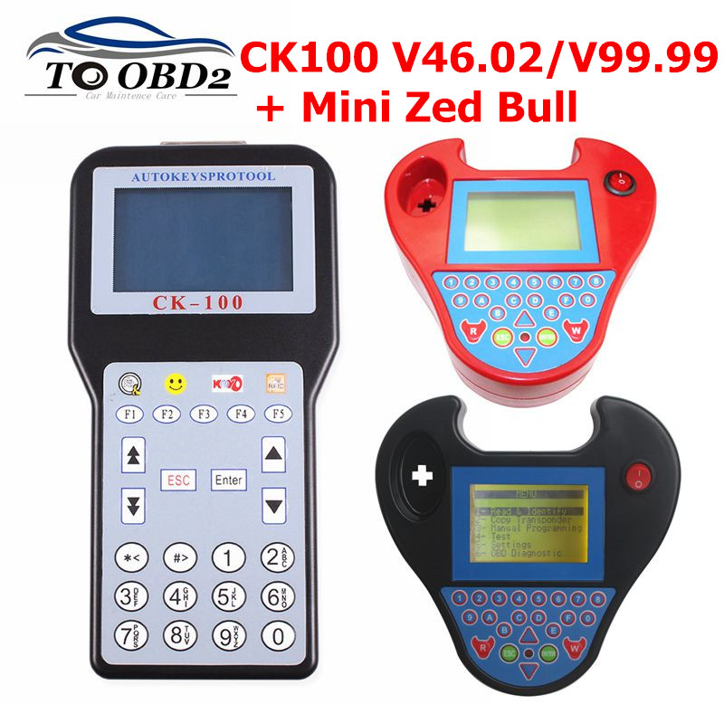 CK100 Key Programmer CK-100 V99.99/46.02/MINI ZED BULL OBD2 Diagnostic Tool Car Fault Reader Auto Code Scanner No Tokens Limited