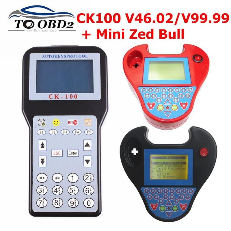CK100 Key Programmer CK-100 V99.99/46.02/MINI ZED BULL OBD2 Diagnostic Tool Car Fault Reader Auto Code Scanner No Tokens limited