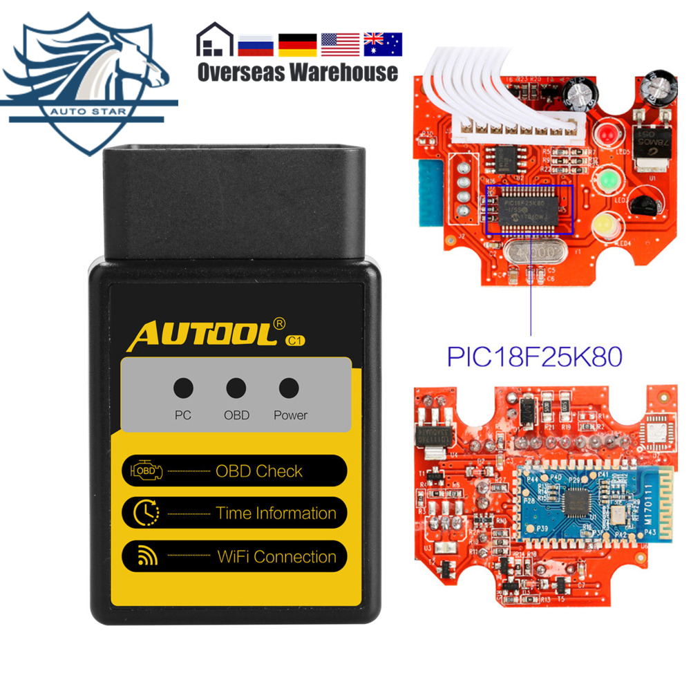 AUTOOL C1 ELM327 V1.5 Bluetooth/WIFI OBD2/OBD II Automobile Auto Diagnostica Scanner Tool Con PIC18F25K80 Chip Per android/IOS
