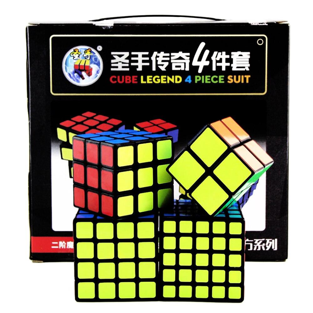 4 pièces/ensemble Cubes 3*3 professionnel Cubo Megico 2*2 4*4 5*5 3x3 Cubes magiques 4x4 5x5 2x2 ShengShou Legend quatre pièces costume
