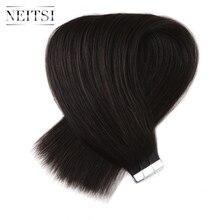 """Neitsi прямо Реми Клейкие ленты в Пряди человеческих волос для наращивания 20 """"2.5 г/локон 20 штук 50 г 613 # 1B #1 #60 # доступны дважды обращается уток кожи волос"""