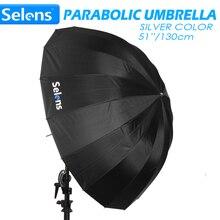 """Selens 51 """"130 cm parabólico profundo guarda chuva reflexivo cor de prata para speedlite estúdio flash iluminação indireta com saco de transporte"""