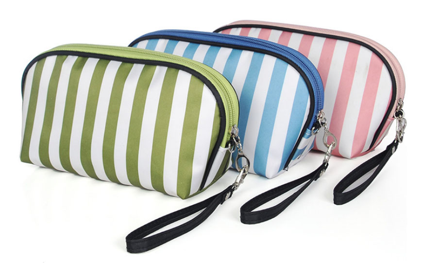 Fashion Women Stripe  Cosmetic Bag Makeup Case Casual Cosmetic Organizer Travel Wash Pouch neceser for Ladies Teenager Girls