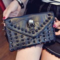 Skelet bolsas mensajero de las mujeres Del Remache de cuero de las mujeres bolsos sac a principal femme de feminina bolsas bolsa de bolsos de diseño de alta calidad