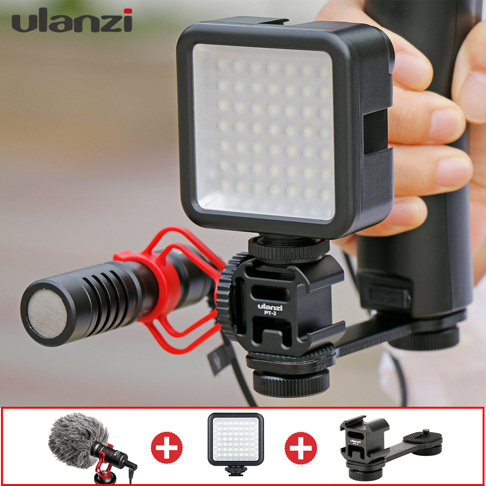 Microphone with Gimbal Accessories LED Video Light Cold Shoe Youtube Vlogging Video Setup for DJI osmo mobile Moza Smart Phones