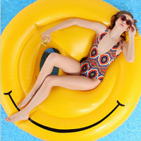 2016 Summer Yellow Round Inflatable Smile Float Island Lounger Smiley Face Pool Floating Raft Bed Air