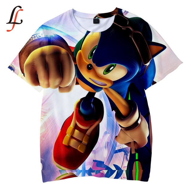 Sonic Harajuku 3D Trẻ Em T-Shirt Mềm Mại Vòng Cổ Áo Sonic Phim Hoạt Hình T áo sơ mi Kpop Giản Dị Chàng Trai và Cô Gái Tình Yêu Thời Trang Mới quần áo XXS