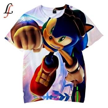 157dec73c Sonic Harajuku 3D niños camiseta suave cuello redondo Sonic de dibujos  animados camiseta Kpop Casual niños y niñas amor nueva moda ropa XXS