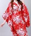 Новинка ну вечеринку платье японский леди атлас кимоно хаори цветок юката с оби производительность танцевальные костюмы один размер