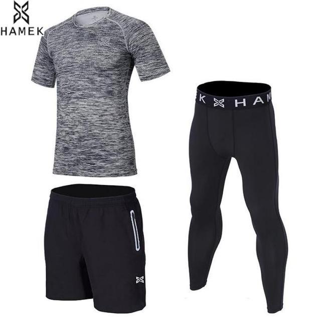 HAMEK nuevo traje de tres piezas para Hombre Ropa Deportiva entrenamiento  de baloncesto compresión Fitness camisetas 04d52ce7fc012
