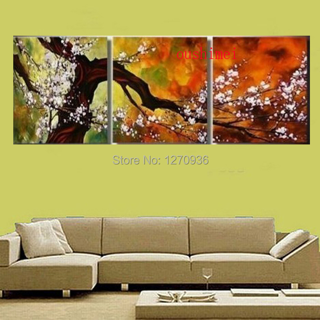 Hand Painted Oil Painting On Canvas Plum Blossom Tree Wall Art ...