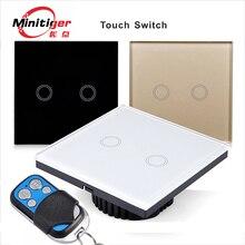MiniTiger EU/UK Estándar Único Firewire de detección táctil de interruptor de pared, Interruptor táctil 2 Gang 1 Way Interruptor de Panel de Cristal,