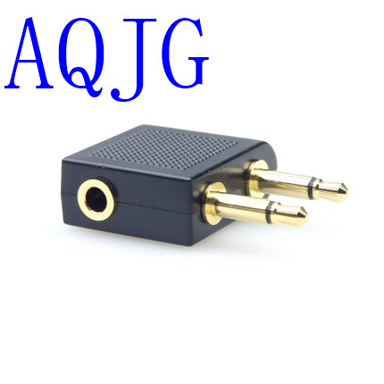 Universal 3.5mm to 2 x 3.5mm Airplane Headphone Earphone Audio Adapter Converter Connector Airline Jack image