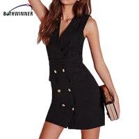 Bothwinner Nignt Club Black Sleeveless Plunge V Neck Button Bodycon Mini Party Dress Summer Vestido De