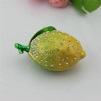 Gratis verzending Pewter Fruit Citroen Vorm sieraden doos met diamant voor geschenken Home Decoratieve Doos