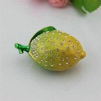 Miễn phí vận chuyển Thiếc Fp-Trái Cây Lemon Shape hộp đồ trang sức với kim cương cho quà tặng Nhà Hộp Trang Trí