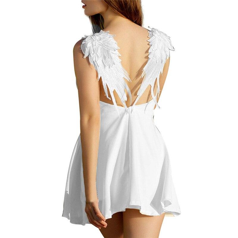snowshine YLI Women Sexy backless V - Neck White Angel Wings beach Backless Mini Dress free shipping