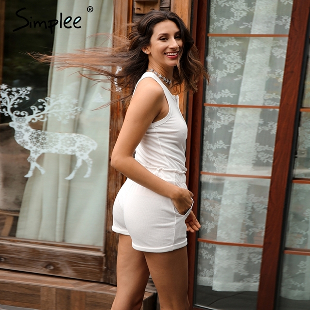 Simplee Knitting white bodycon jumpsuit romper Women two piece suit sleeveless sexy overalls Summer high waist playsuit 2017 new
