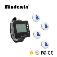 Mindewin Relógio Pager Sistema de Chamada Sem Fio Sistema de Paginação de 1 PC Receptor + 4 PCS botão de Chamada para o Paciente a Idosos emergência