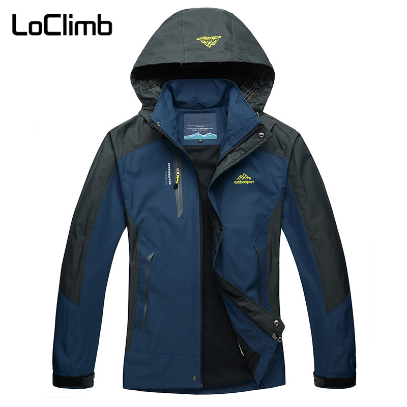 LoClimb Men's Outdoor Sport Windbreaker 2018 Sping Windproof Waterproof Camping Hiking Jacket Men Trekking Fishing Coat,AM163