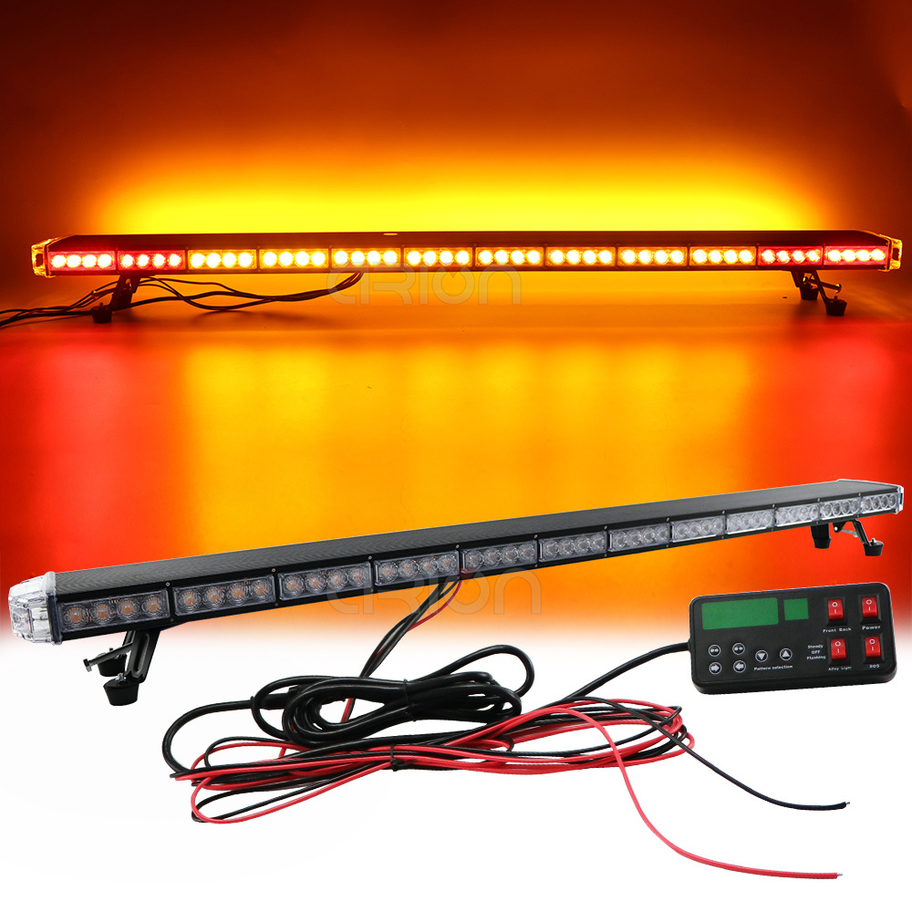 "50/"" 102 LED Emergency Warning Double Side Strobe Flash Light Bar Amber Y White"
