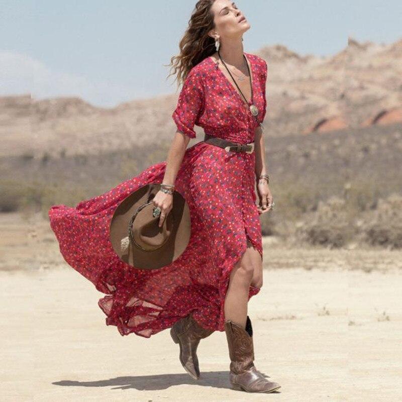 529a1da6f426 2018 New High Quality Women Boho Summer Dress Chiffon Floral Printed Short  Sleeves Party Beach Long Maxi Dress Red XS S M L