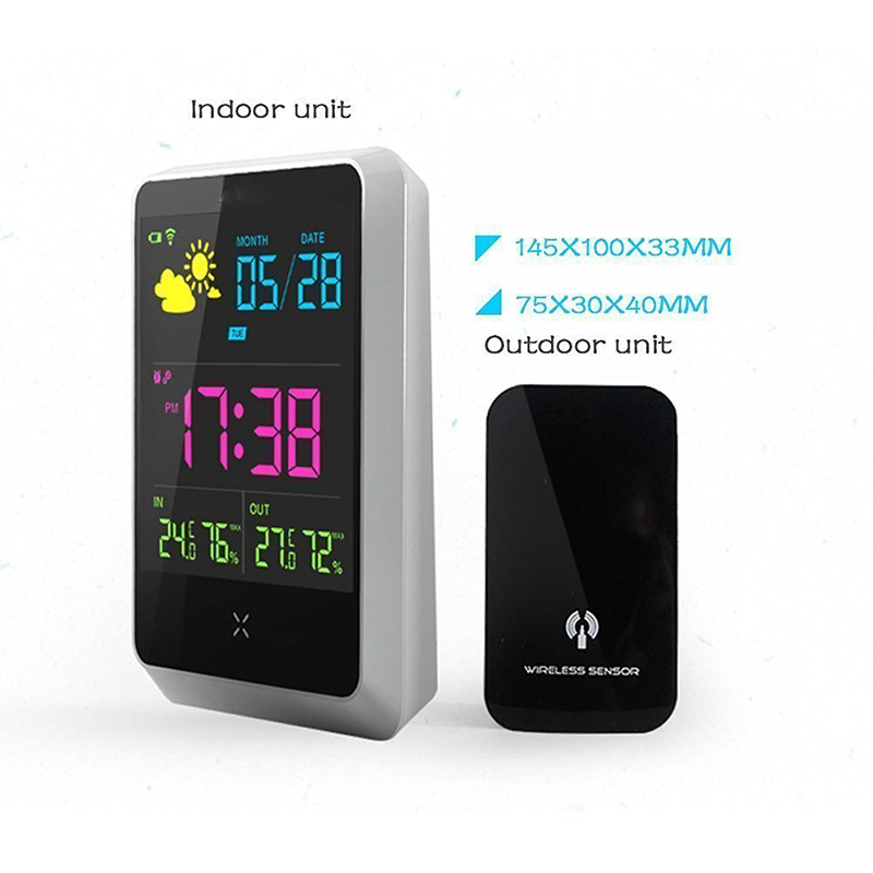 Europe Indoor Outdoor with Temperature/Humidity/Forecast Wireless Digital Alarm Clock LCD Screen Weather Station Table Clock
