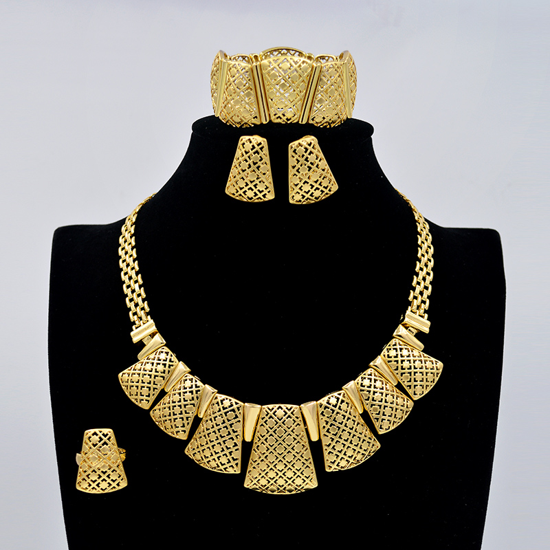 d8707b321137d US $10.42 69% OFF|Sunny Jewelry Fashion Jewelry 2019 Women Bridal Wedding  Jewelry Sets High Quality Lock Necklace Earrings Bracelet Ring For Party-in  ...