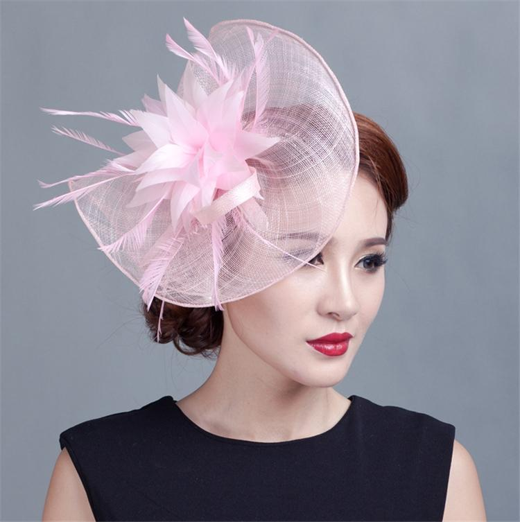 Sinamay Hat Fascinator Feather Flower Hair Clip Wedding Hats And Fascinators Bridal Hair Acessories Chapeu Casamento WIGO0513 free shipping high quality 2015 mini disc flower sinamay fascinator with feather for race