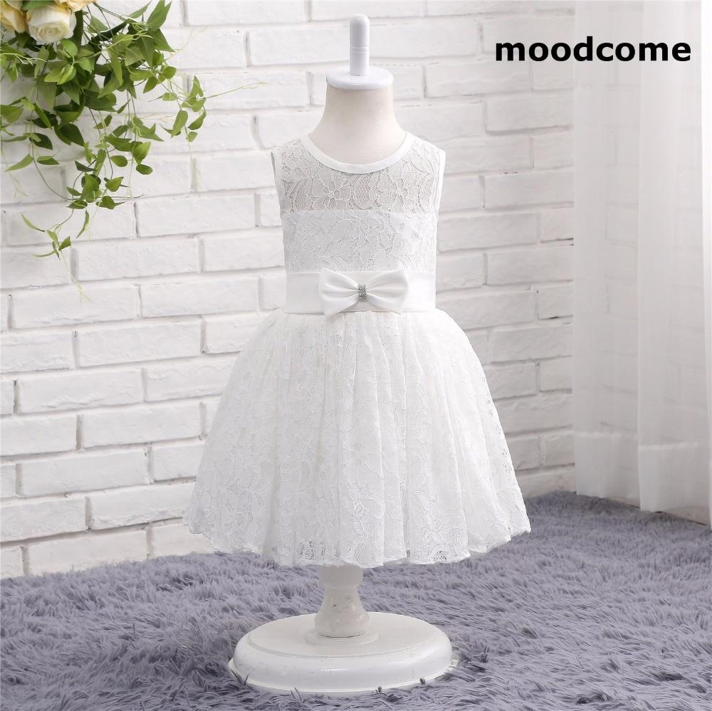 2018 New Cheap Flower Girl Dresses Tea Length O Neck Lace Bow Ball