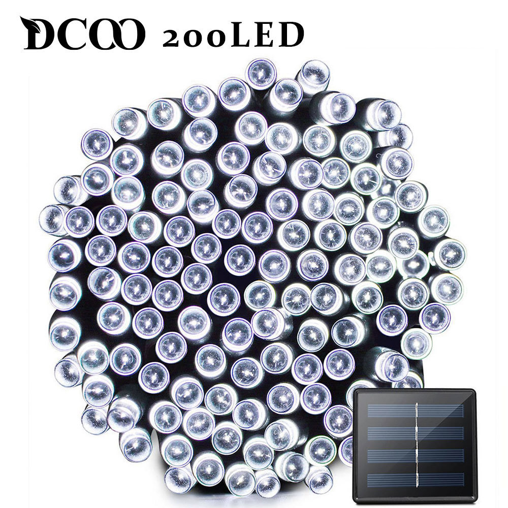 Dcoo LED Solar Light 72ft 22meter 200 LED 8 Modifikationer Tuinverlichting Havelys LED Solar Lampe Havebelysning Solar Lampe Udendørs