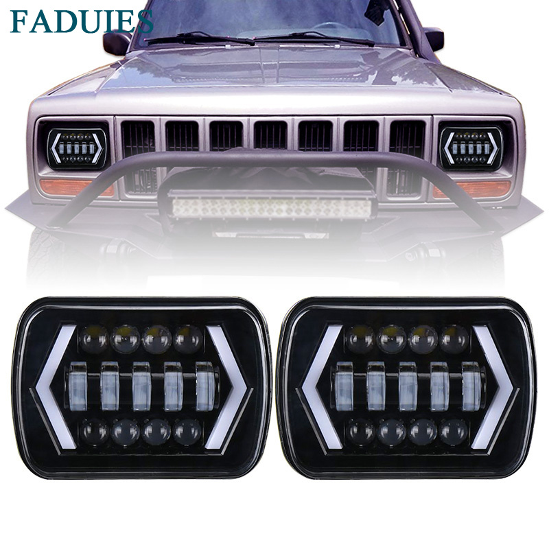 FADUIES 5x7 inch Square LED Headlamp Arrow Angel Eyes DRL Turning Replaces H6054 H5054 H6054LL For Trucks Jeep Wrangler XJ YJ marlaa 7x 6 5 x 7 inch black projector led headlights for jeep wrangler yj cherokee xj h6054 h5054 h6054ll 69822 6052 6053