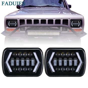 FADUIES 5x7 inch Square LED Headlamp Arrow Angel Eyes DRL Turning Replaces H6054 H5054 H6054LL For Trucks Jeep Wrangler XJ YJ 180sx led ヘッド ライト
