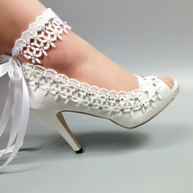 US $50.45 10% OFF|2019 neue ankunft Womens weddding schuhe Braut Weiß Spitze schuhe frau High heels ankle strap strap Pumps Peep Toe mode schuhe in