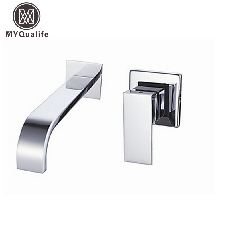 Free Shipping Single Handle Wall Mounted Waterfall Basin Sink Faucet Chrome Finished Bathroom Mixer Tap contemporary chrome bathroom sink tub faucet single handle waterfall spout mixer tap wall mounted