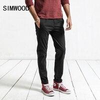 SIMWOOD 2017 Autumn New Black Casual Pants Men Slim Fit Trousers Male Zipper Fly Plus Size