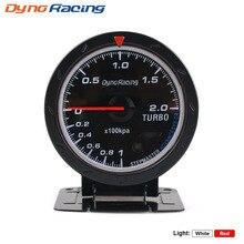 Car-Meter Boost-Gauge 60MM Sensor Dynoracing Black Face with BX101467 Red--White Lighting-Bar