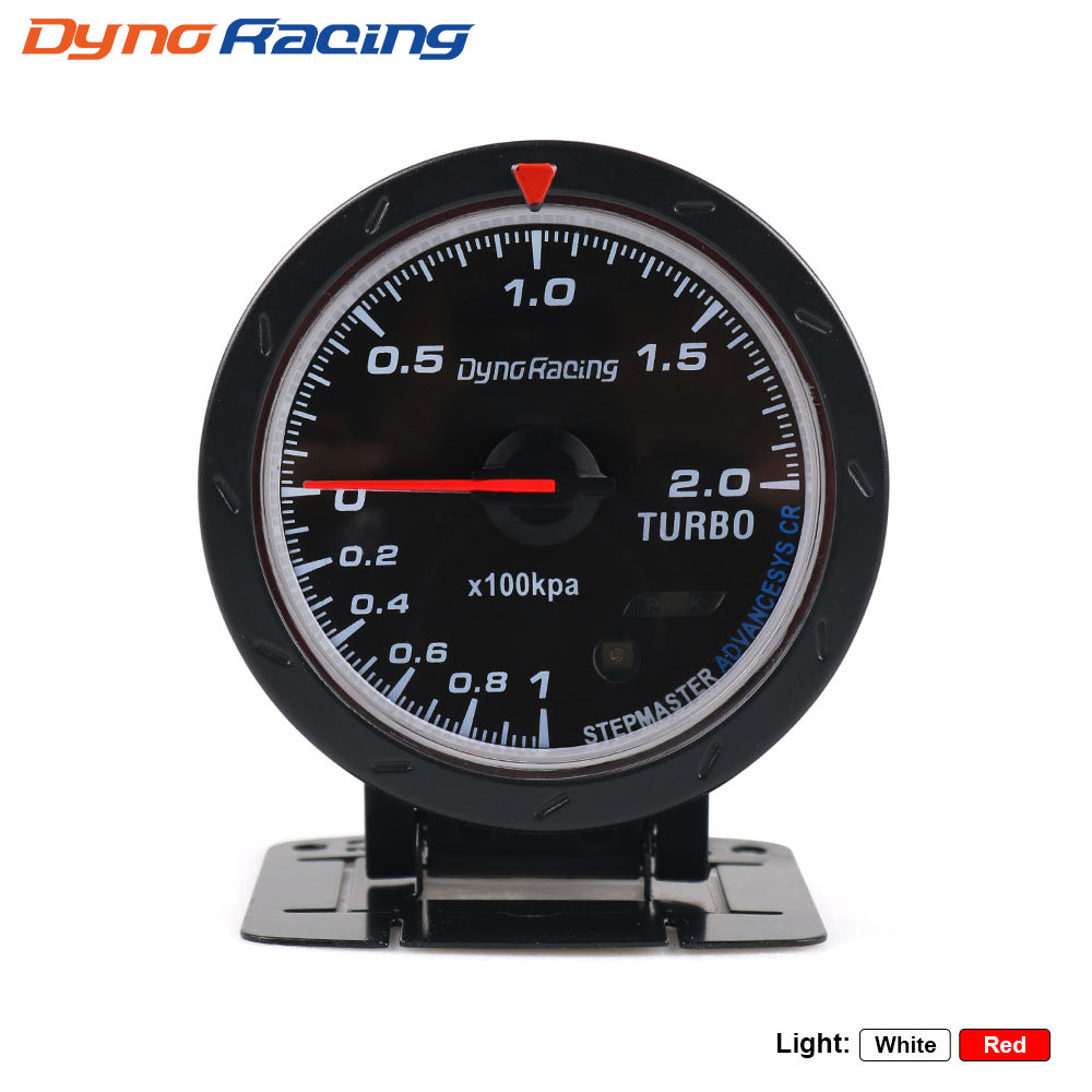 Dynoracing 60MM Car Turbo Boost Boost Illuminazione rossa e bianca Tipo BAR Indicatore nero Car car meter con sensore BX101467