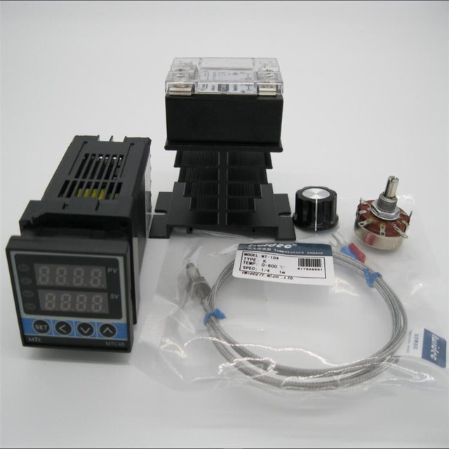 US $31 5 23% OFF High Quality Digital PID temperature Controller Thermostat  MTC48 +Max 25A SSR Relay +K Thermocouple Probe+radiator+potentiometer-in