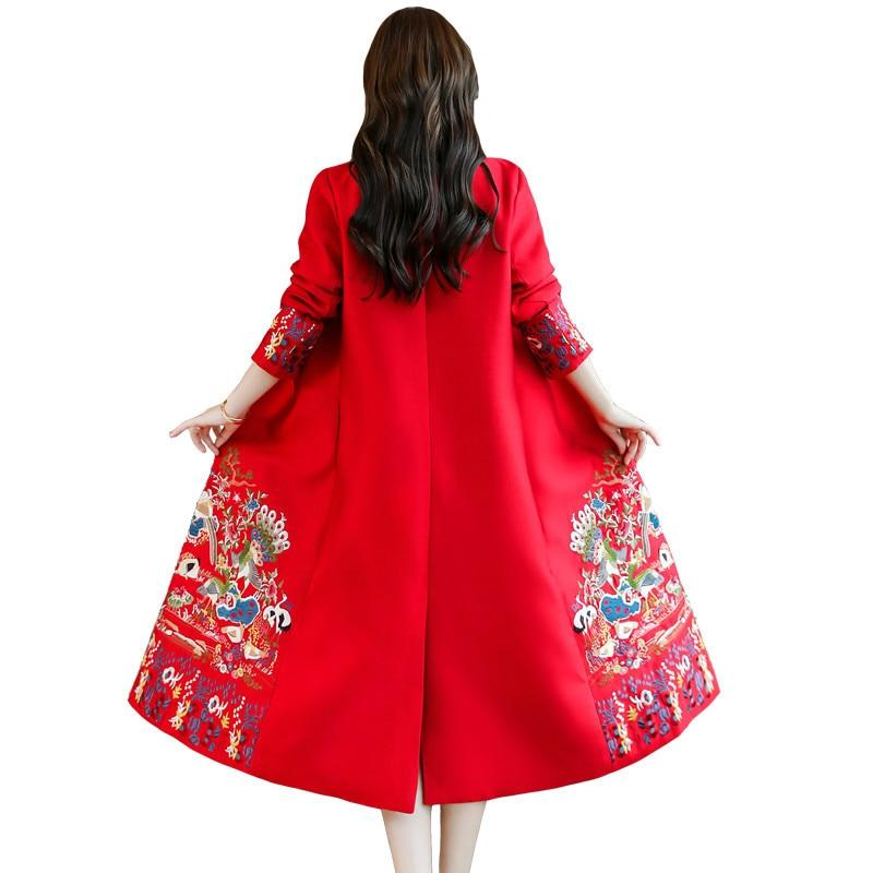 Chinese National Wind Embroidery Long Windbreaker Women 2019 Autumn Vintage Trench Coat Loose Slim Elegant Cardigan Coat LP129