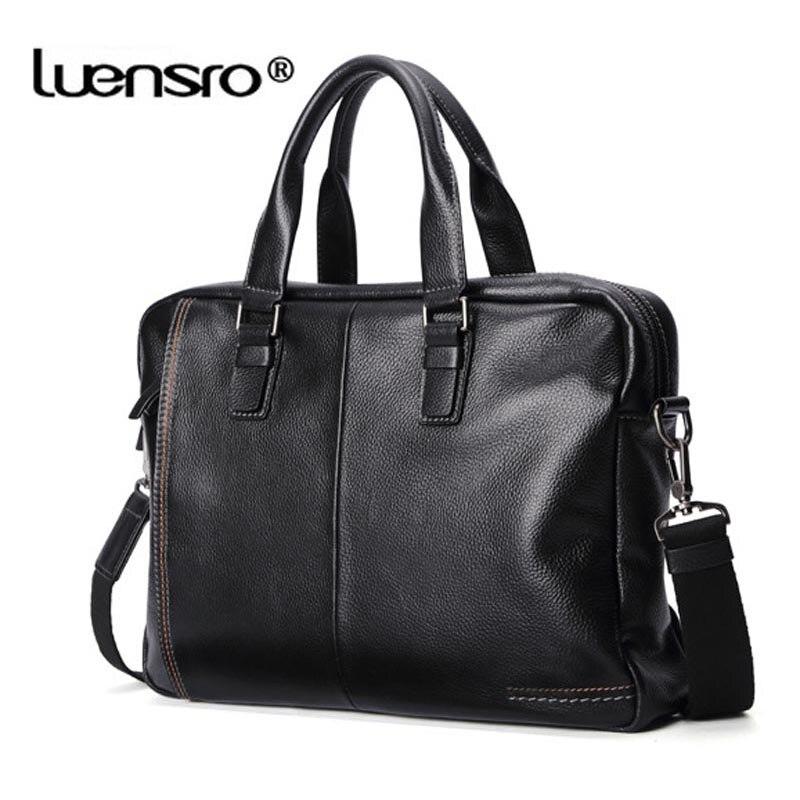 Männer Männlichen Schulter Tote Echtem Handtasche Black Luensro blue Natürliche brown Laptop Business Tasche coffee 100 Leder Haut Taschen Aktentasche Iw18q