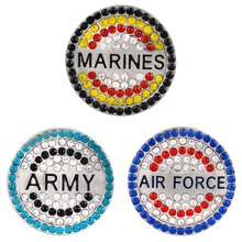 5PCS Marines Army Air Force letter crystal 18mm 20mm snap buttons jewelry  with yellow white blue abe0df3fa